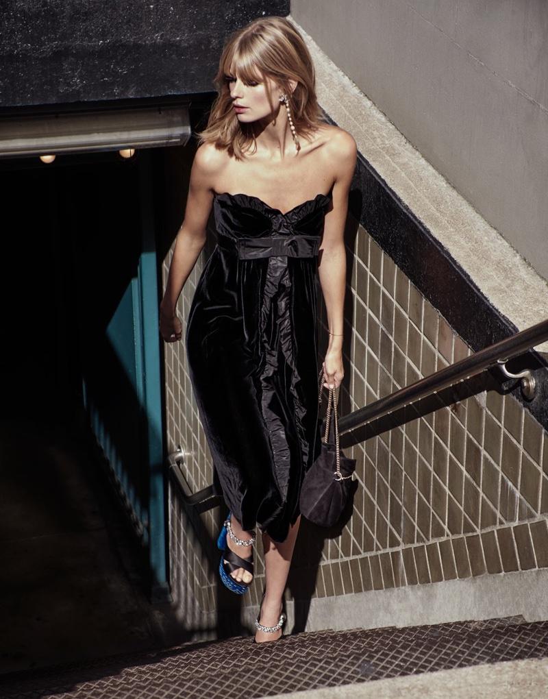 Leaving the subway station, Julia Stegner models velvet Miu Miu dress and sandals with Lanvin bag