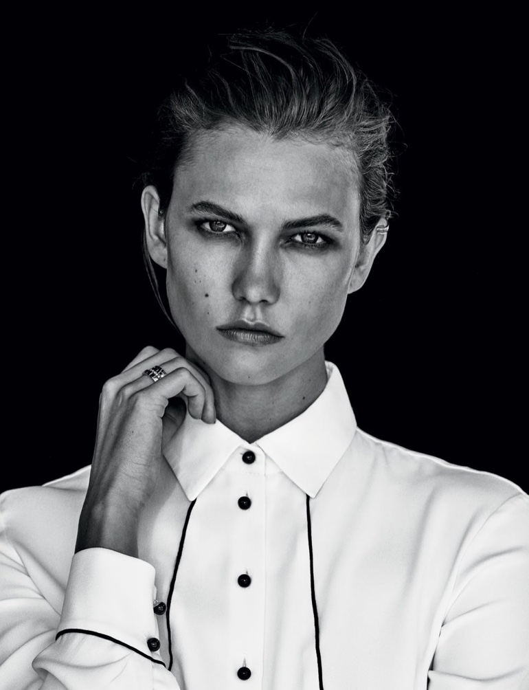 Karlie Kloss gets her closeup in button-up shirt