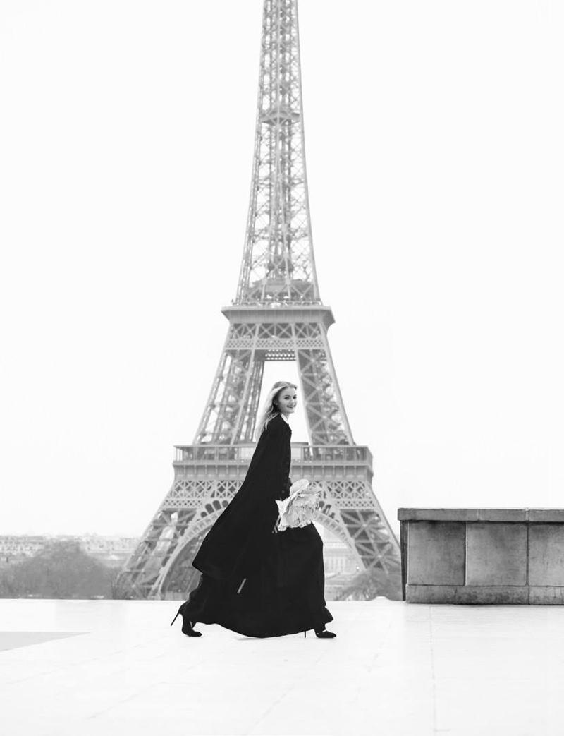 Kate Grigorieva poses in Paris for the fashion editorial
