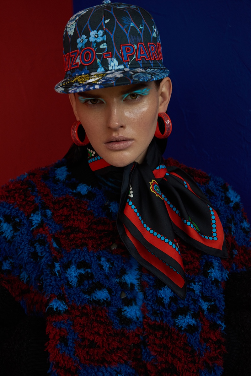 Photographed by Branislav Simoncik, the model wears looks from the Kenzo x H&M collaboration