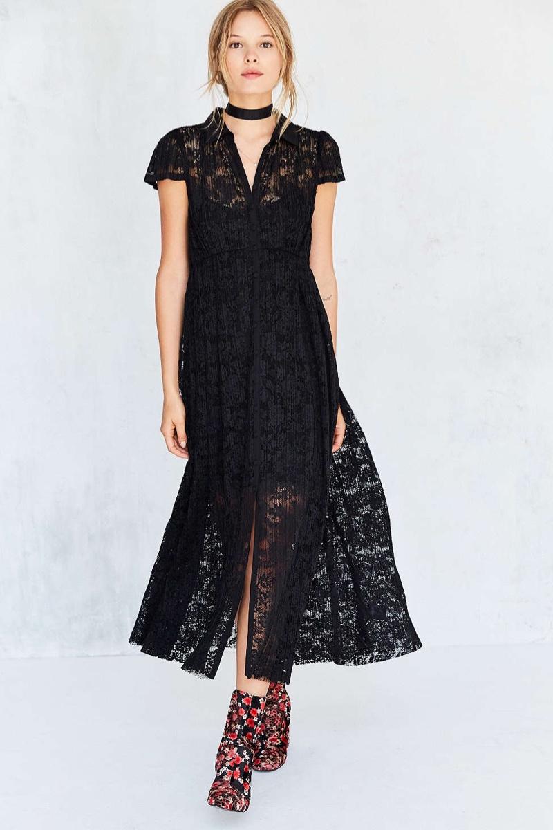 Kimchi Blue Kierra Lace Maxi Shirt Dress