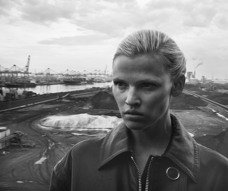 Model Lara Stone wears slicked back hairstyle in the feature