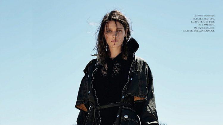 Leila Goldkuhl Wears Sleek Outerwear in BAZAAR Kazakhstan