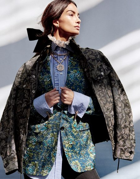 Lily Aldridge Channels Elizabethan Style in Burberry for Harper's Bazaar Singapore