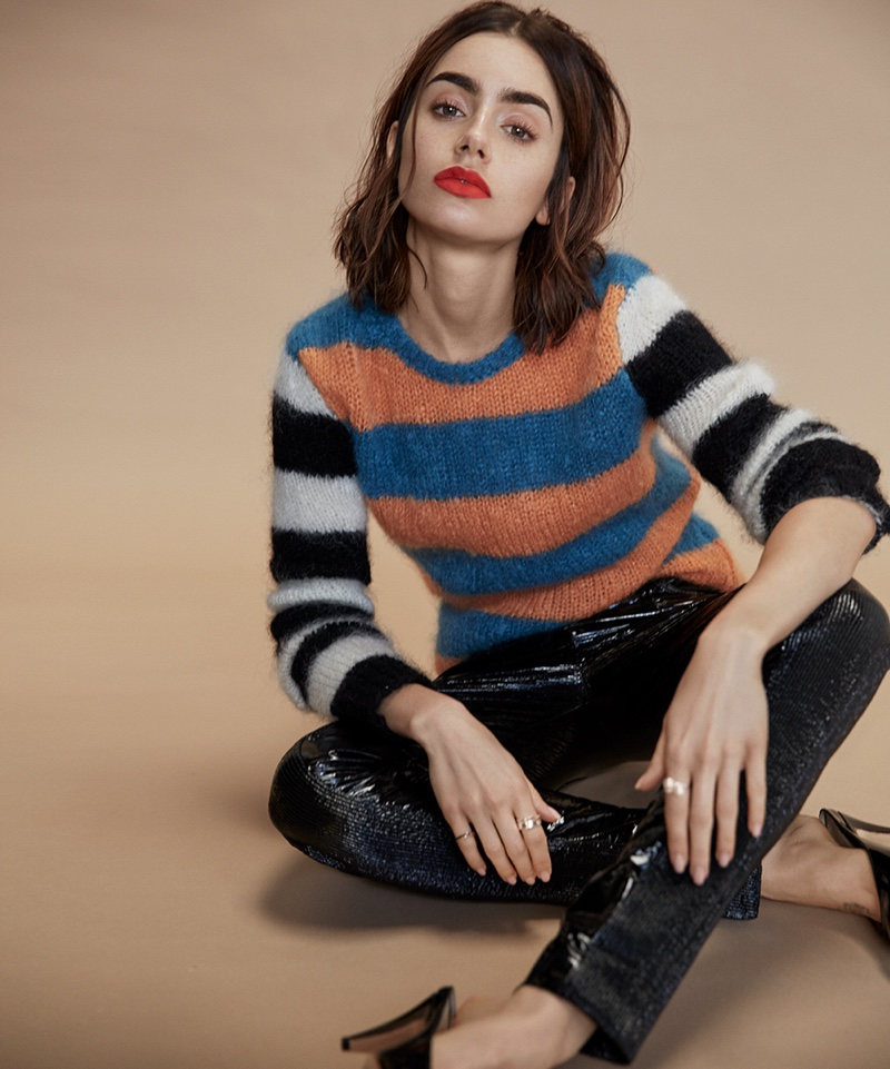 Photographed by David Roemer, actress Lily Colins wears Max Mara sweater and Kenzo pants