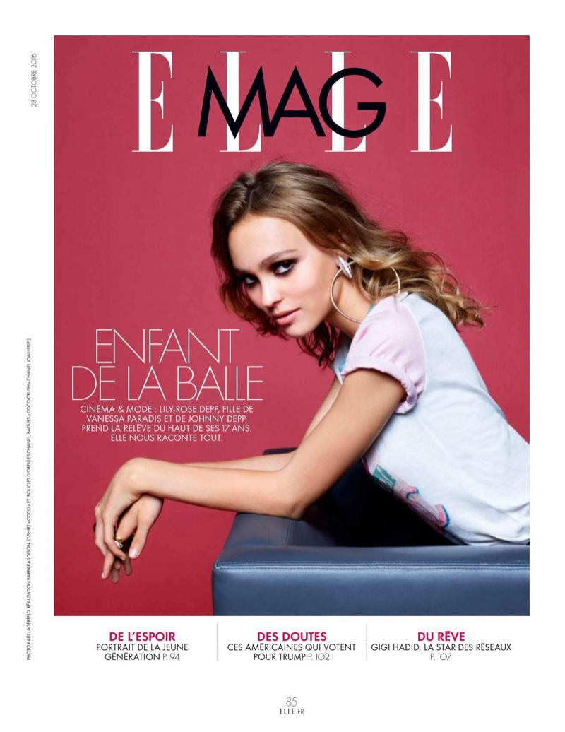 Photographed by Karl Lagerfeld, Lily-Rose Depp poses in casual styles
