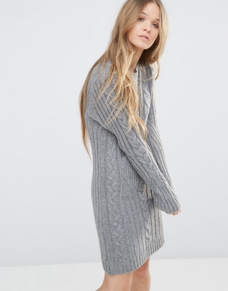 Moon River Long Sleeve Grey Sweater Dress