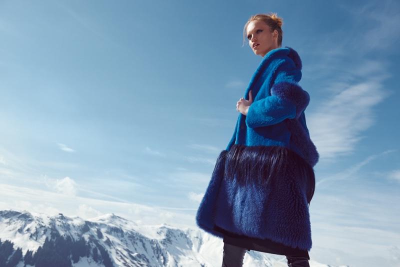 Luisa Bianchin models blue fur coat