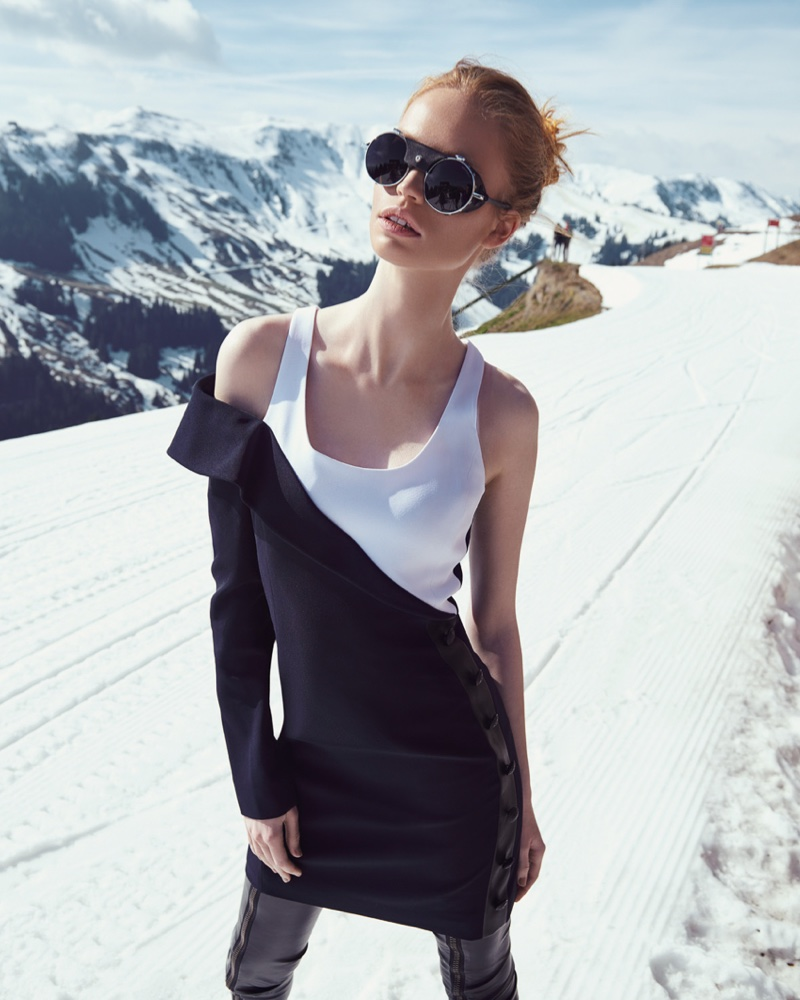 Luisa Bianchin wears an asymmetrical look while on the slopes