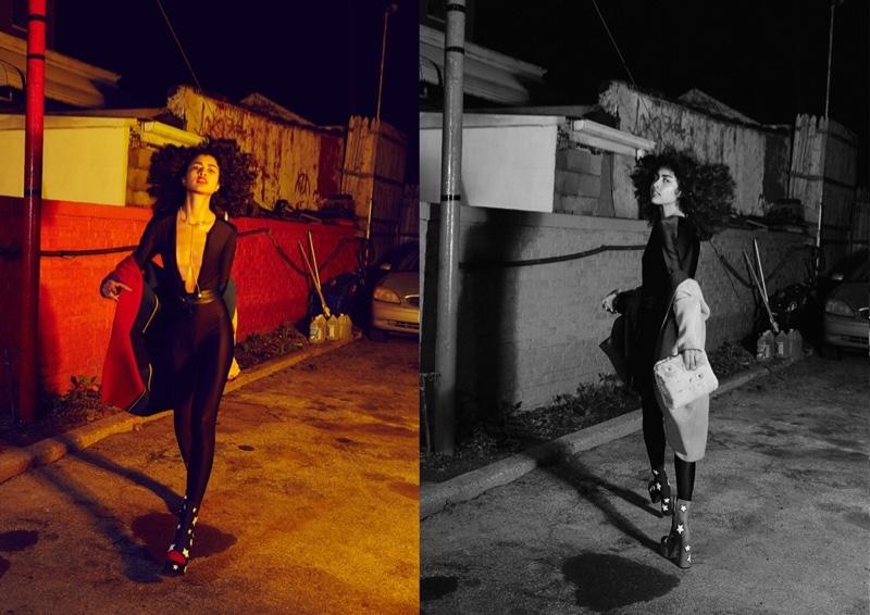 The model hits the streets in full-length bodysuit