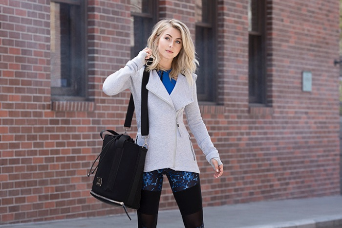 Julianne Hough is a cute vision in an asymmetrical jacket and leggings from her MPG by Julianne Hough Collection.