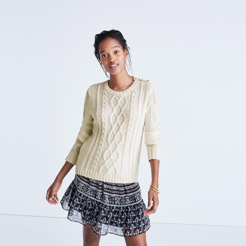 Madewell x Sézane Marin Cable Sweater