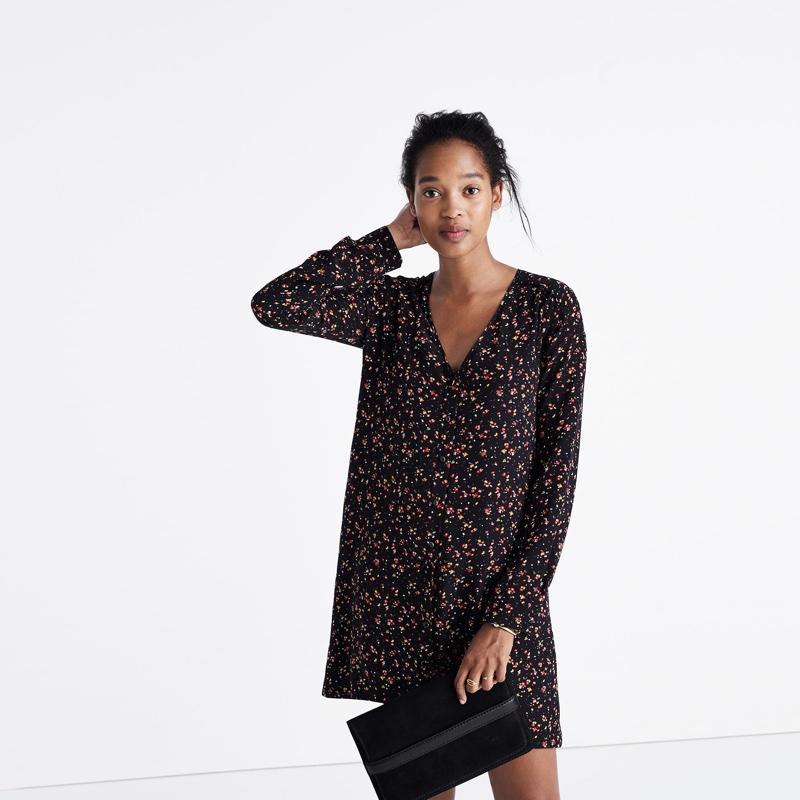 Madewell x Sézane Silk Elly Shirtdress in Floral Print