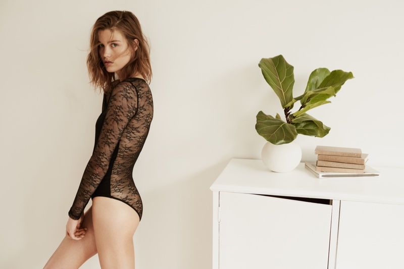 Model wears lace bodysuit from Mango's lingerie collection