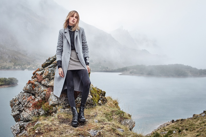 Posing outdoors, Edie Campbell layers up in Mango's November 2016 campaign