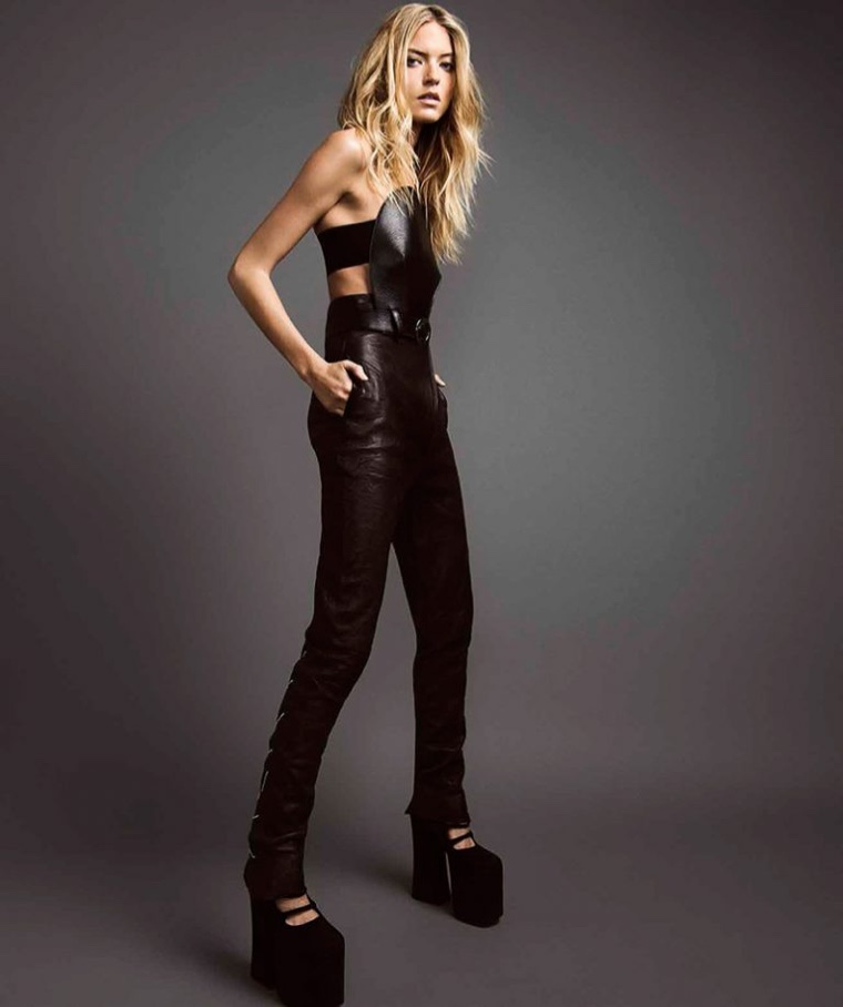 Martha Hunt gets clad in all black looks for the fashion editorial
