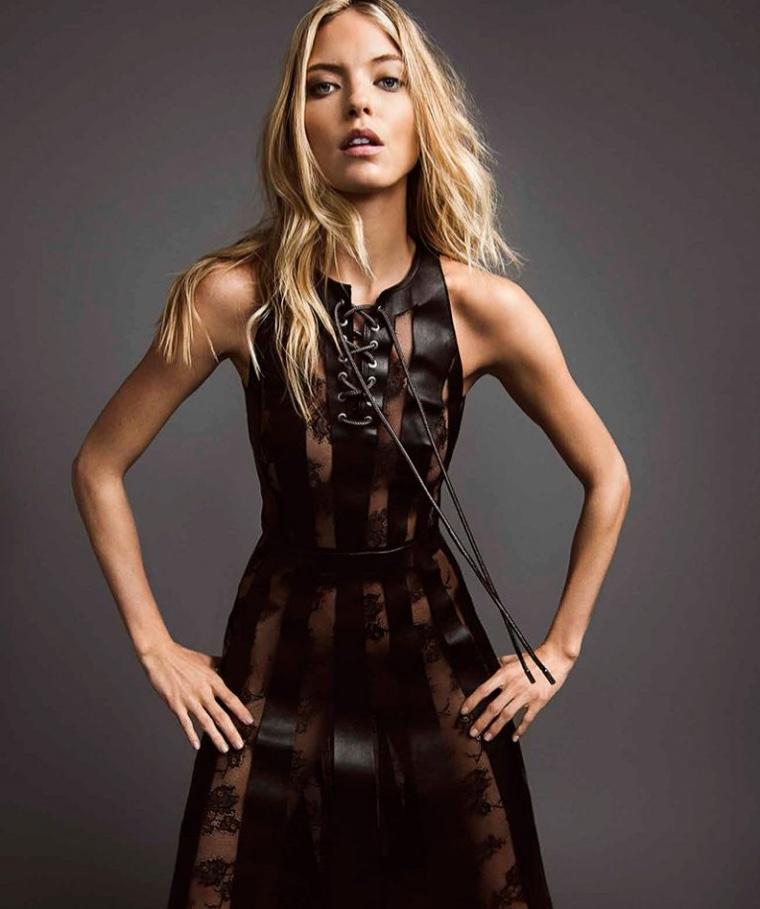 Victoria's Secret Angel Martha Hunt wears leather and lace dress