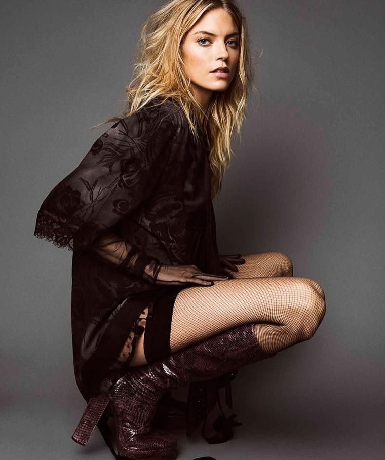 Martha Hunt wears  an embellished look with block-heel boots