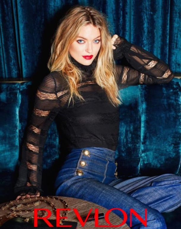 Looking sexy in lace, Martha Hunt poses for Revlon