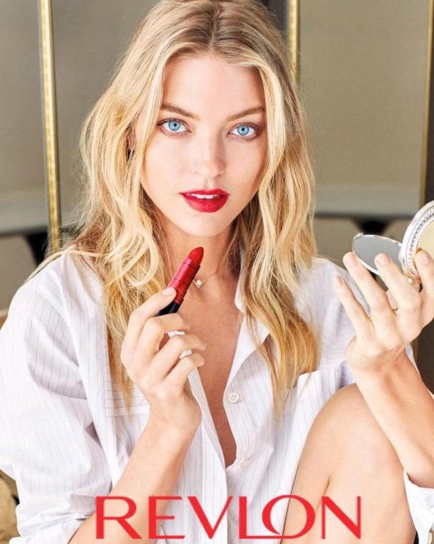 Wearing Revlon's Super Lustrous lipstick, Martha Hunt looks red-hot