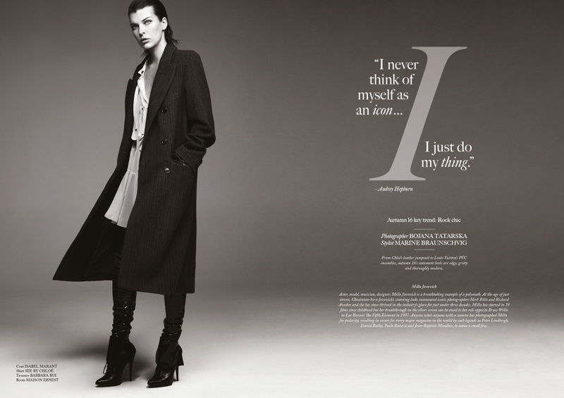 Milla Jovovich poses in Isabel Marant coat, See by Chloe shirt, Barbara Bui trousers and Maison Ernest boots
