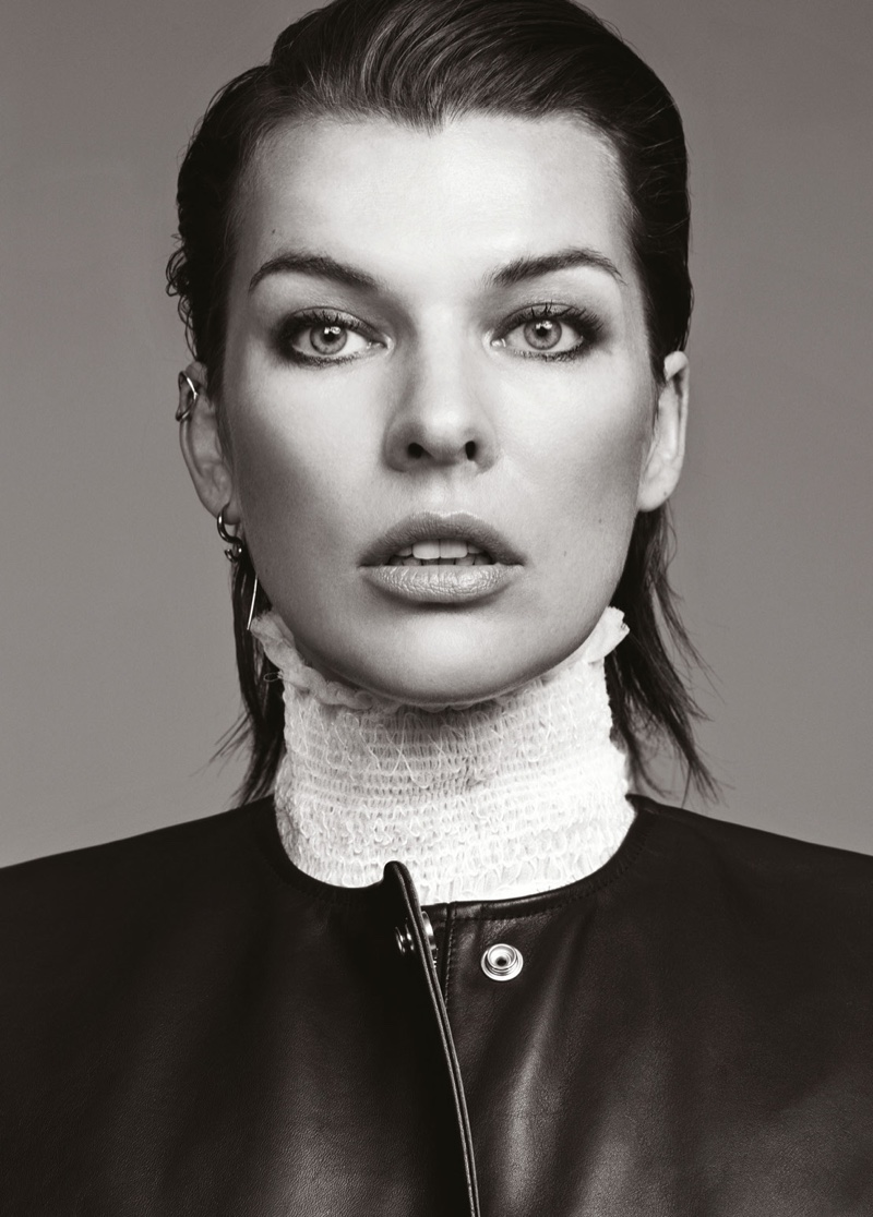 Milla Jovovich gets her closeup in See by Chloe shirt and Acne dress