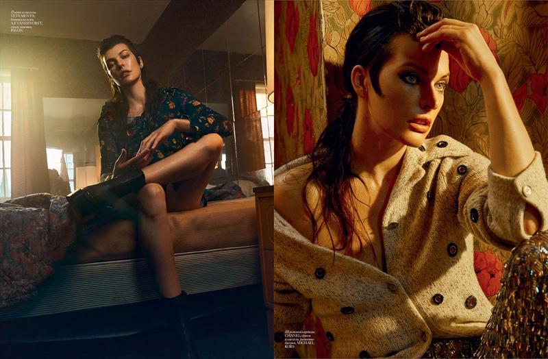 (Left) Milla Jovovich wears Vetements dress (Right) Milla Jovovich poses in Chanel sweater