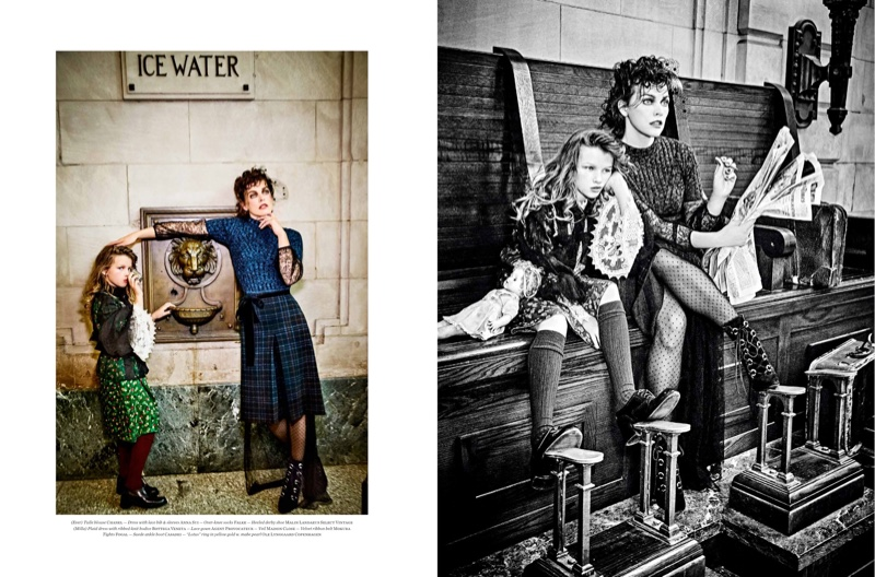 Ever poses in Chanel blouse, Anna Sui dress and Malin Landaeus shoes. Milla wears plaid dress over Agent Provocateur gown