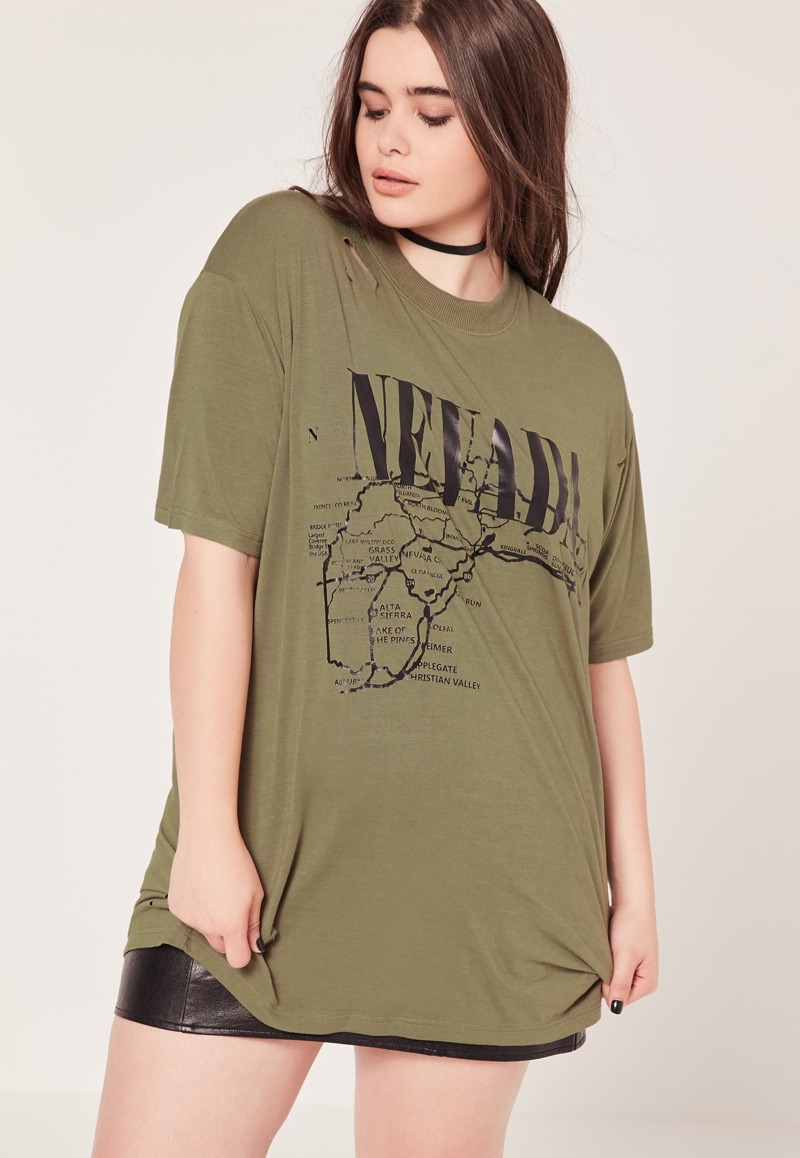 Missguided Plus-Size Nevada Slogan T-Shirt in Khaki