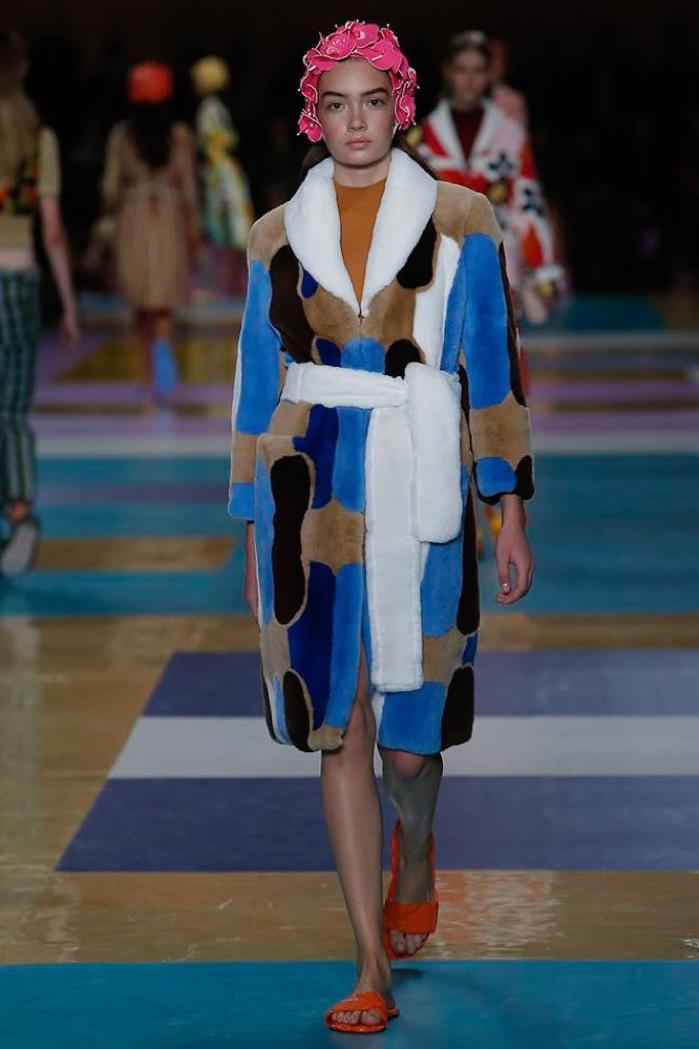 Miu Miu Spring 2017: Model walks the runway in patchwork coat tied at the waist