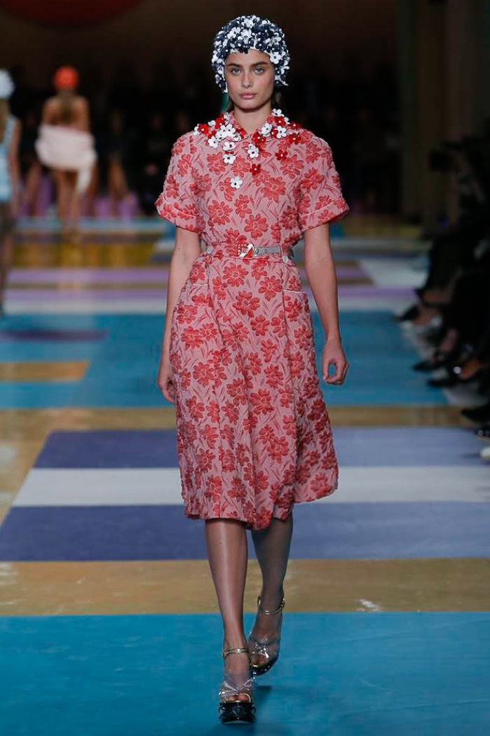 Miu Miu Spring 2017: Taylor Hill walks the runway in floral appliqué dress