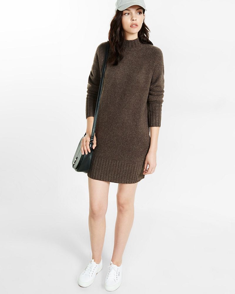 Express Mock Neck Shift Sweater Dress