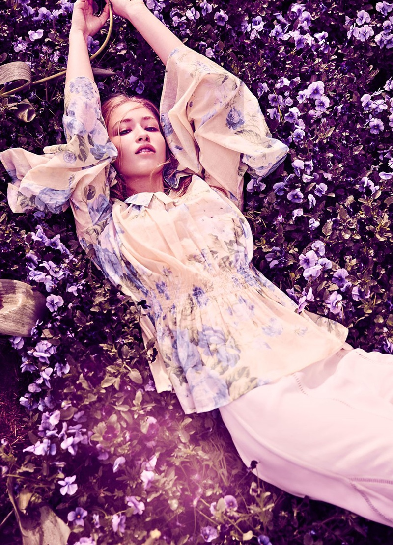 Photographed by Steven Chee, the model wears floral prints