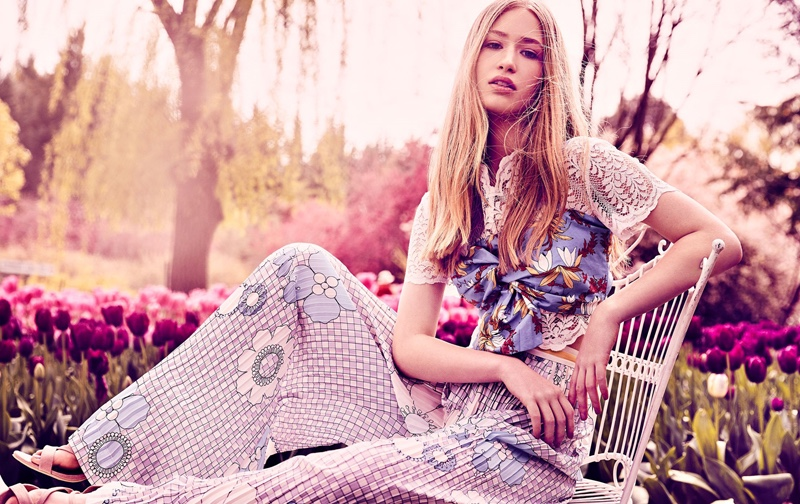 Looking pretty in florals, Natalia models Zara bustier with Keepsake lace top and Lucilla Grey trousers