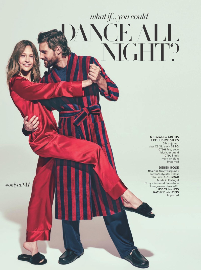 Sasha Pivovarova poses with RJ Rogenski in Neiman Marcus silk pajamas