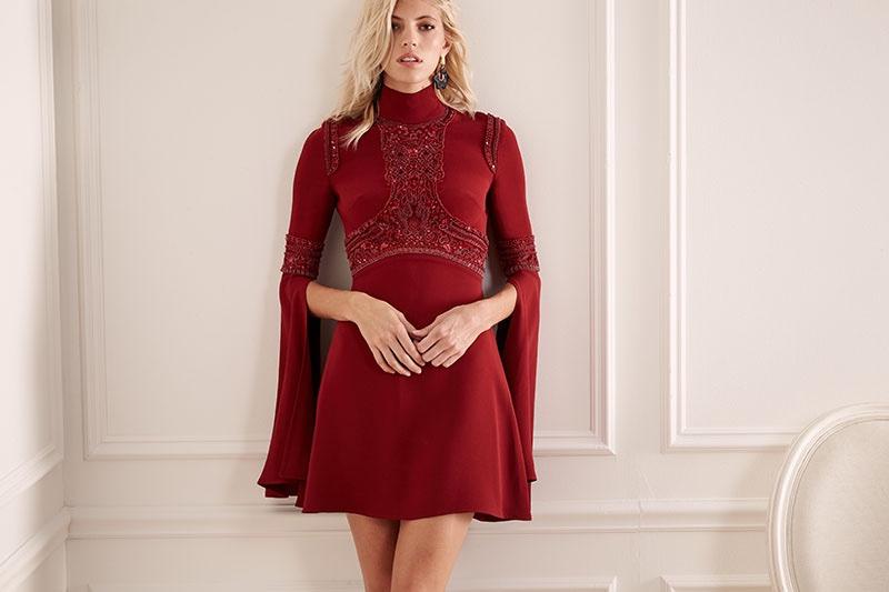 Elie Saab Beaded Bell-Sleeve Turtleneck Dress in Carmen
