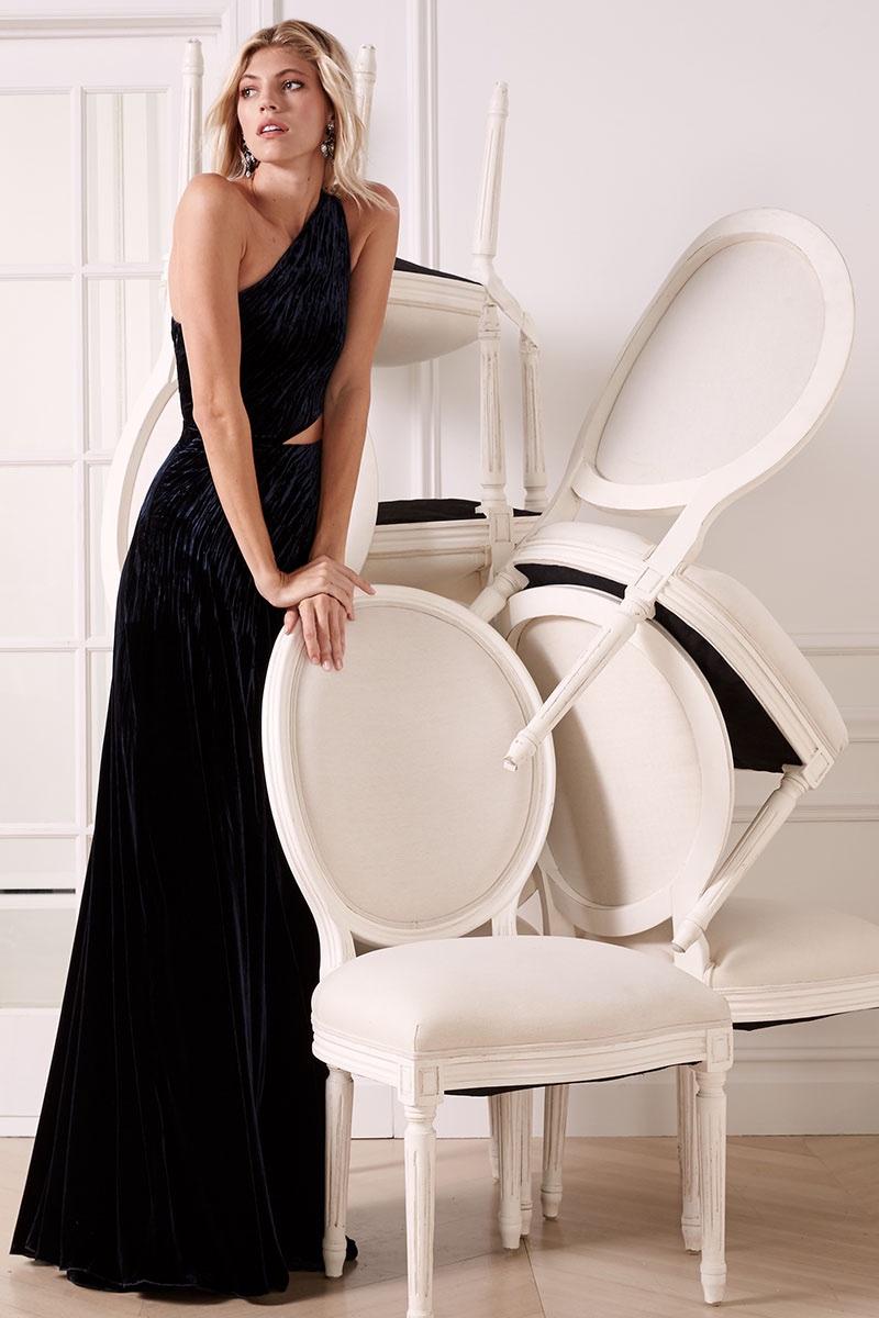 Ralph Lauren Tess Sleeveless Cutout Evening Gown in Midnight