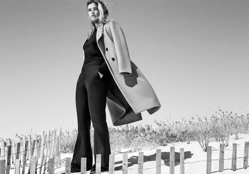 Braving the fall breeze, Nina Agdal poses in Massimo Dutti coat