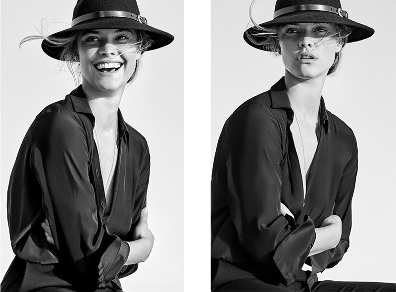 Giving a smile for the camera, Nina Agdal poses for Massimo Dutti