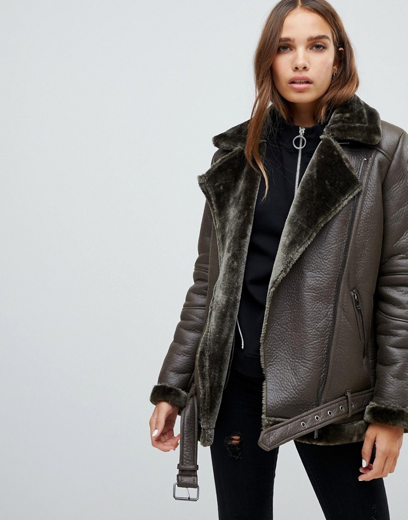 Only Faux Leather Shearling Jacket $111