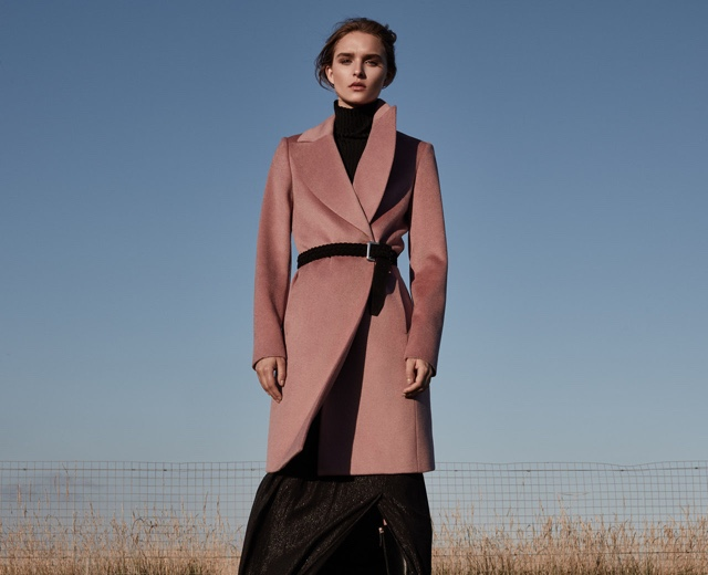 REISS Forbes Textured Coat in Rose Pink, Olins Ribbed Roll-Neck and Bridge Suede Plaited Belt