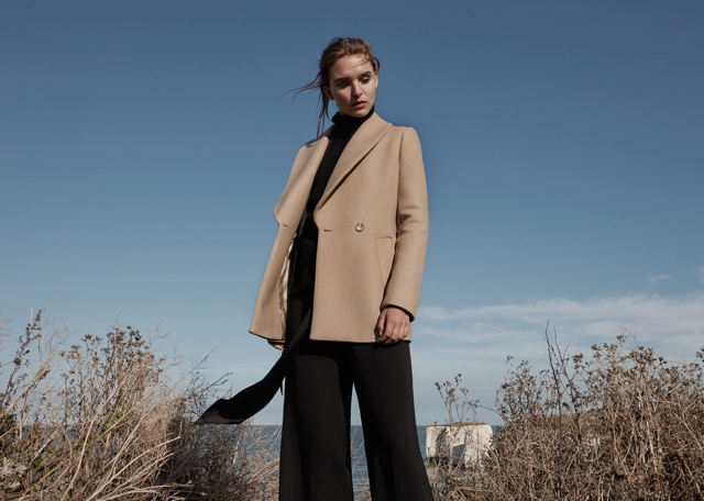 REISS Malika Shawl-Collar Coat, Daveen Cashmere Roll-Neck and Becci Wide-Leg Trousers