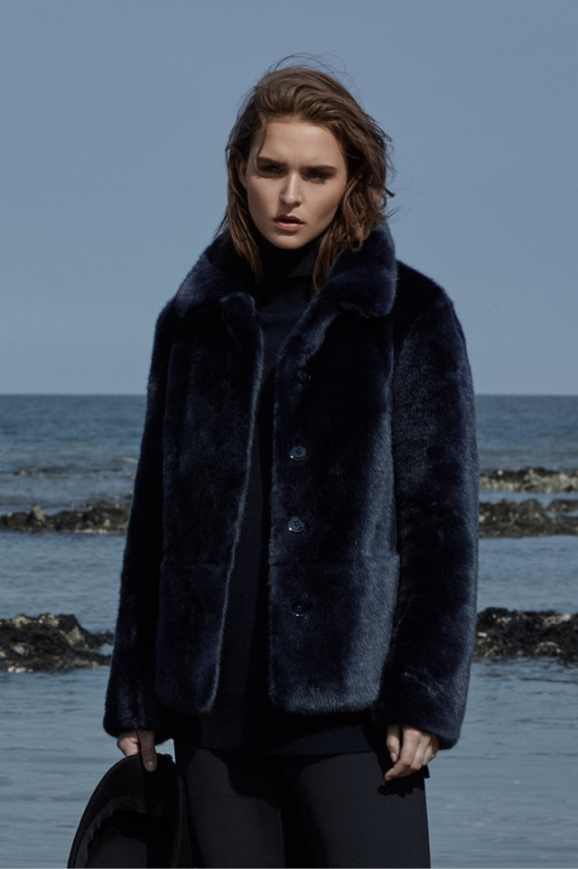 REISS Alexia Faux Fur Coat, Ina Cashmere-Blend Turtleneck and Becci Wide-Leg Trousers