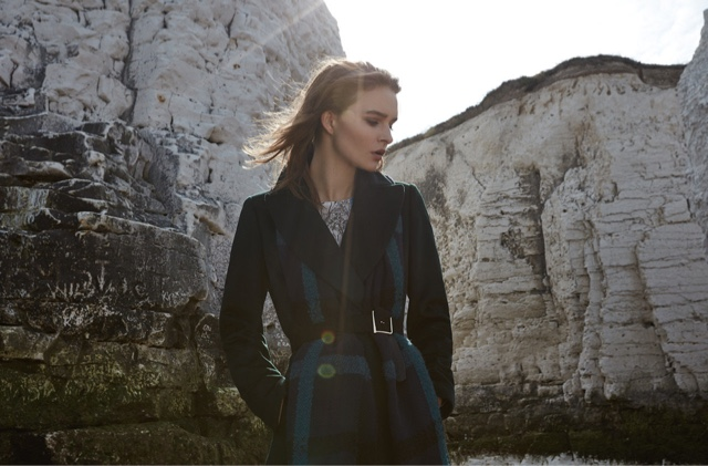 REISS Forley Textured Longline Coat in Racing Green, Elise Oversized Check Scarf and Nyla Printed Midi Dress