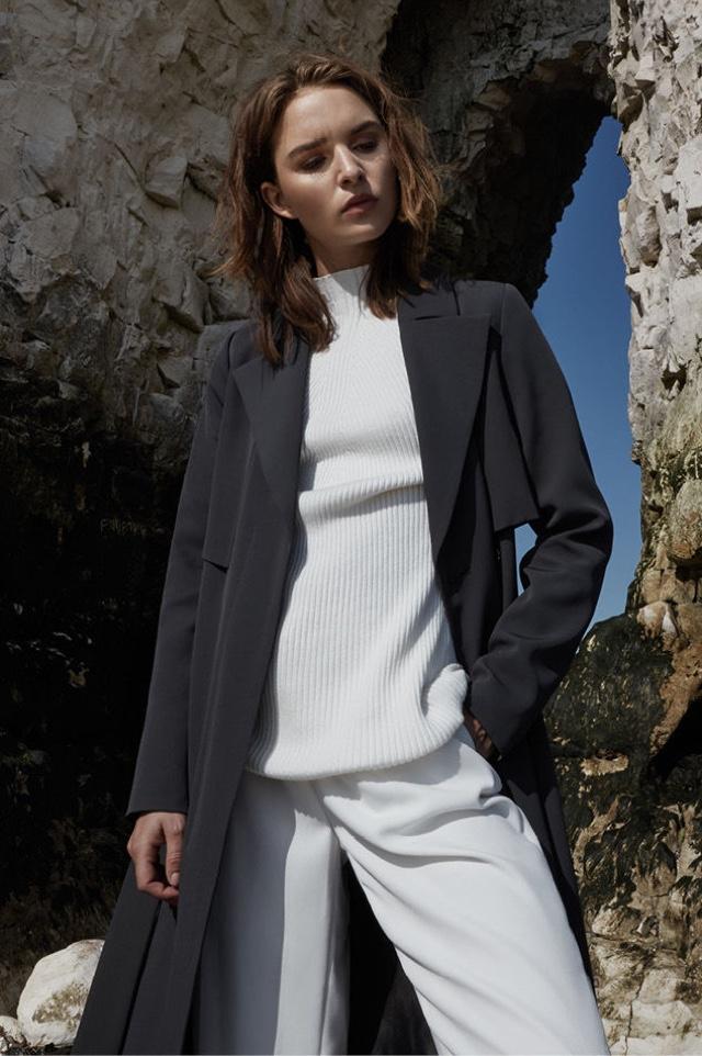 REISS Lina Fluid MAC Coat and Poppy Rib-Detail Jumper
