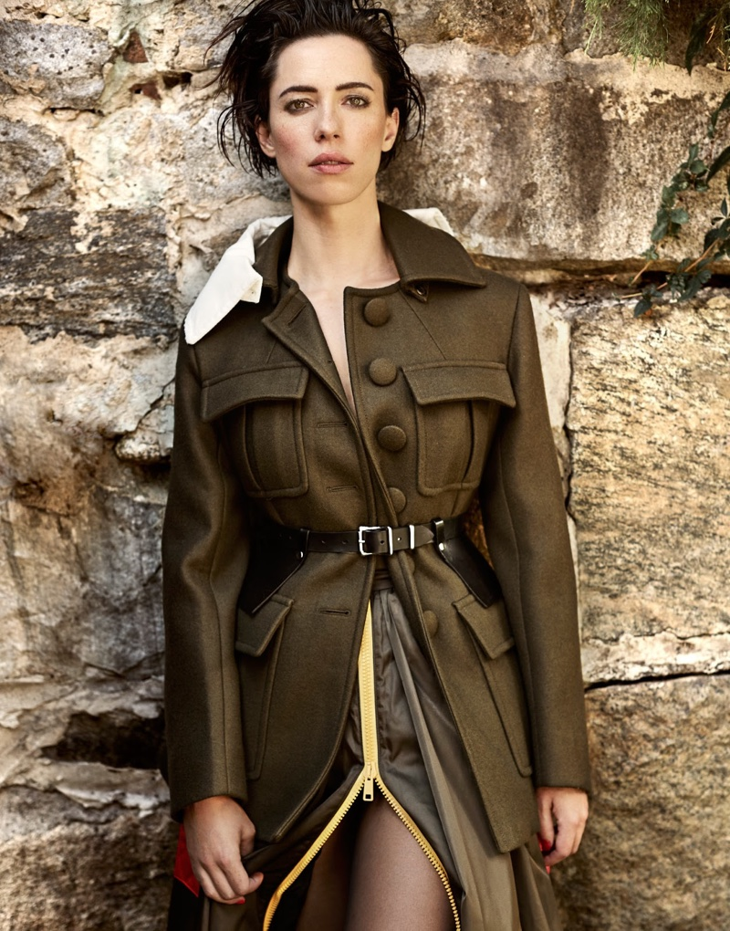 Rebecca Hall embraces army green with Prada coat and skirt