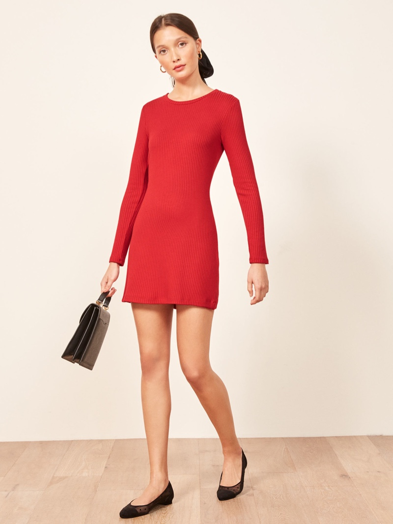 Reformation Jeanne Dress in Cherry $98