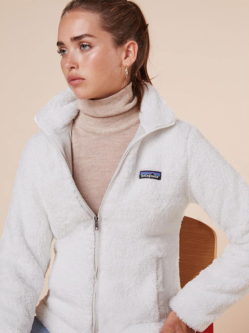 Reformation x Patagonia Los Gatos Fleece Jacket in Birch White