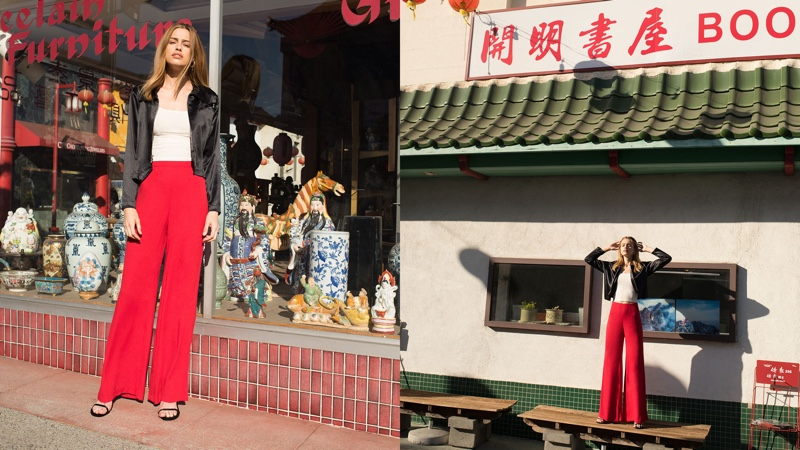 Reformation Sorrenti Pant in Cherry