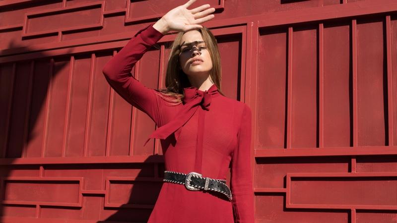 Reformation Serafina Dress in Crimson